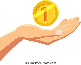 Hand holding gold coin icon, cartoon style