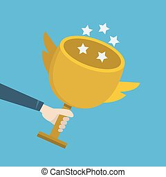 hand holding gold trophy, vector