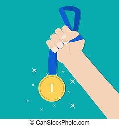 Hand holding golden medal