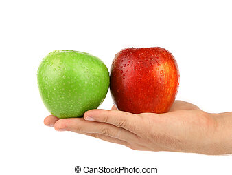 Hand holding green and red apples