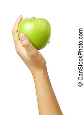 hand holding green apple isolated clipping path.