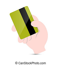 Hand Holding Green Credit Card Vector Illustration