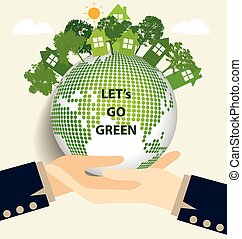 Hand holding Green Eco Earth. Vector Illustration.