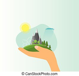 Hand Holding Green Eco Landscape Flat Style