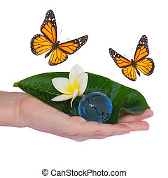 Hand holding green leaf and earth with butterflies