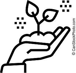 hand holding growing plant line icon vector illustration
