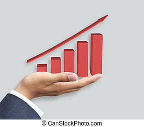 Hand holding growth graph