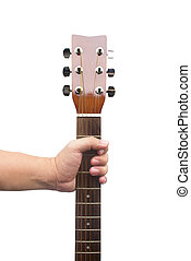 Hand Holding Guitar Isolated On White Background
