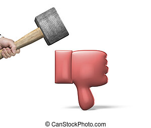 Hand holding hammer cracking red 3D thumb down