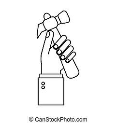 hand holding hammer tool construction outline