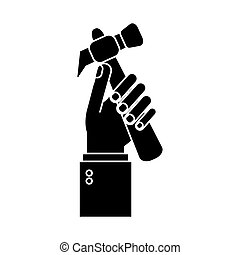 hand holding hammer tool construction pictogram
