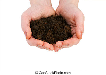 Hand holding handful of soil isolated on white
