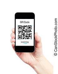 hand holding, handy, mit, qr, code, scanner