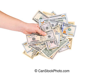 Hand holding heap of dollars.