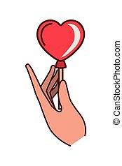 hand holding heart balloon isolated icon