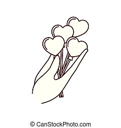 hand holding heart balloons isolated icon
