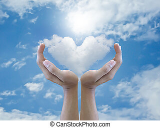 Hand holding heart cloud