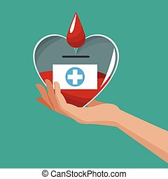 hand holding heart donate blood