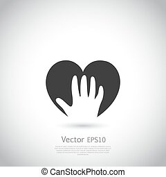 Hand holding heart symbol, sign, icon, logo template for charity, health, voluntary, non profit organization.