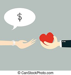 Hand holding heart with concept business