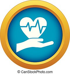 Hand holding heart with ecg line icon blue vector isolated