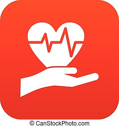 Hand holding heart with ecg line icon digital red