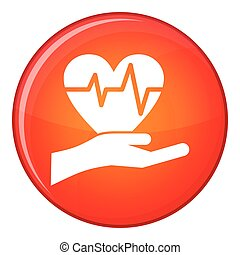 Hand holding heart with ecg line icon, flat style