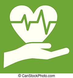 Hand holding heart with ecg line icon green