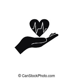 Hand holding heart with ecg line icon