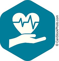 Hand holding heart with ecg line icon simple style