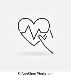 Hand holding heartbeat vector icon in thin line style
