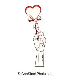 Hand holding heartshape lollipop pop art red lines