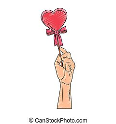 Hand holding heartshape lollipop pop art scribble