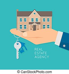 Hand holding house and key. Real estate agency concept