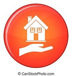Hand holding house icon, flat style