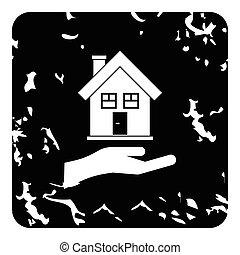 Hand holding house icon, grunge style