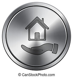 Hand holding house icon. Round icon imitating metal.