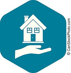 Hand holding house icon, simple style