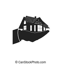 hand holding house, icon, vector