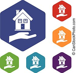 Hand holding house icons set