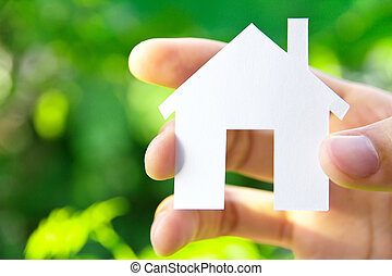 my dream house concept - hand holding icon house, my dream...