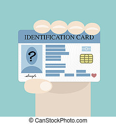 Hand holding id card - Illustration of hand holding the id...