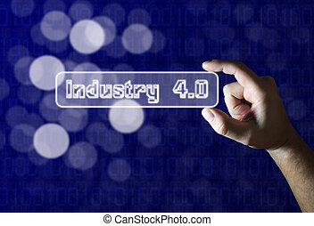 Hand holding industry 4.0 sign on blue background