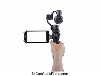 Hand holding innovative digital camera