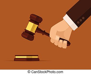 Hand holding judges gavel. Vector flat cartoon illustration