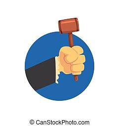 Hand holding judges gavel, wooden hammer of judge or auctioneer cartoon vector Illustration