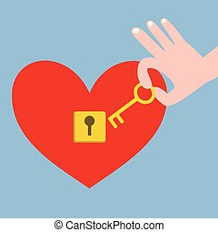 Hand holding key and red heart with keyhole - Hand holding...