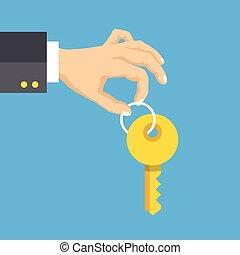 Hand holding key. Flat style design