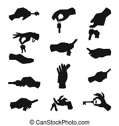 Hand holding key vector silhouette apartment selling human gesture sign security house concept arm symbol illustration