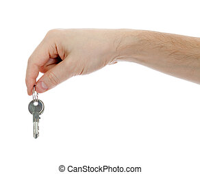 hand holding keys on a white background
